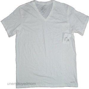 Calvin Klein White Tee Mens Cotton V-Neck T-Shirt